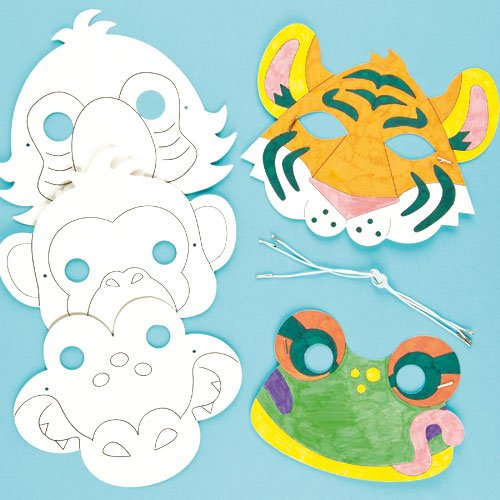 Rainforest Jungle Animal color in Craft Masks for Children to Decorate & Wear Fancy Dress (Pack of (Toy Fancy Dress Ideas)
