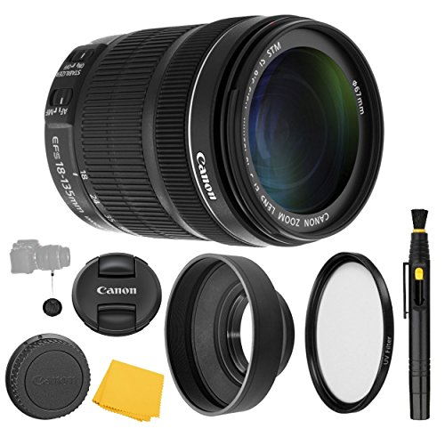 (CanonEF-S 18-135mm f/3.5-5.6 IS STM Lens + UV Filter + Collapsible Rubber Lens Hood + Lens Cleaning Pen + Lens Cap Keeper + Cleaning Cloth - 18-135mm STM: International Version (No Warranty) )