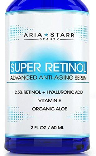 Aria Starr suero Retinol 2,5% - 2 FL OZ - con ácido hialurónico, vitamina E, Aloe, aceite de Jojoba, el té verde - mejor Natural de la piel producto de cuidado para Anti envejecimiento Anti arrugas, acné facial, cuello y ojos