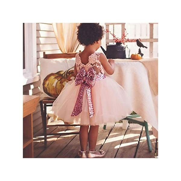 Inlefen Flower Girls Dress Wedding Party Compleanno Paillettes Bowknot Floral Sleeveless Princess Formal Dress per Baby… 5