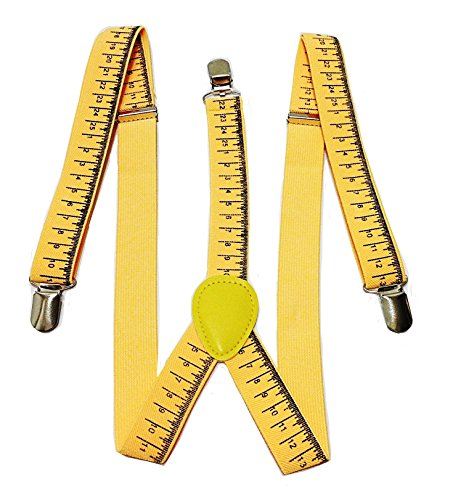Men's Construction Ruler Adjustable Elastic Clip-On Y-Back Novelty Suspenders -