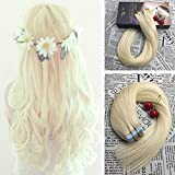 Moresoo Best Quality Straight Bleached Blonde(Color 613) Hair Extensions Tape in Remy Human Hair 18 inch 50g/20pcs Highlights Hair Fashion Color