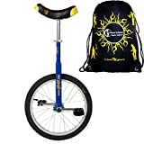 Qu-Ax Unicycles 18'' Luxus Kid's Trainer Unicycle In Blue For Kids + Young Adults + Flames N' Games Travel Bag!