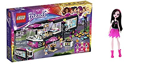 LEGO Friends Pop Star Tour Bus 682 Pcs & free Gifts Ghoul Spirit Draculaura Doll (Colors may vary) Toys
