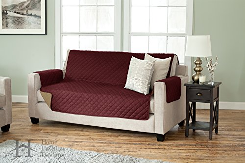 Deluxe Reversible Quilted Furniture Protector and PET PROTECTOR. Two Fresh Looks in One. Perfect for Families with Pets and Kids. By Home Fashion Designs Brand. (Sofa / Couch - Burgundy / (Quilted Design)