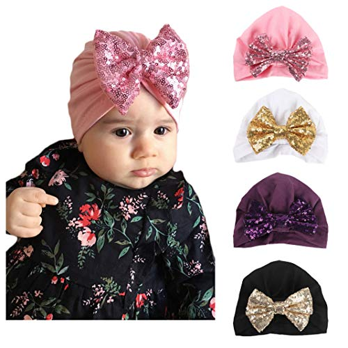 - Baby Girl Hat with Rabbit Ears Bow Hat Toddlers Soft Turban Variety Knotted Hats Cap (Paillette Bow (4pcs))