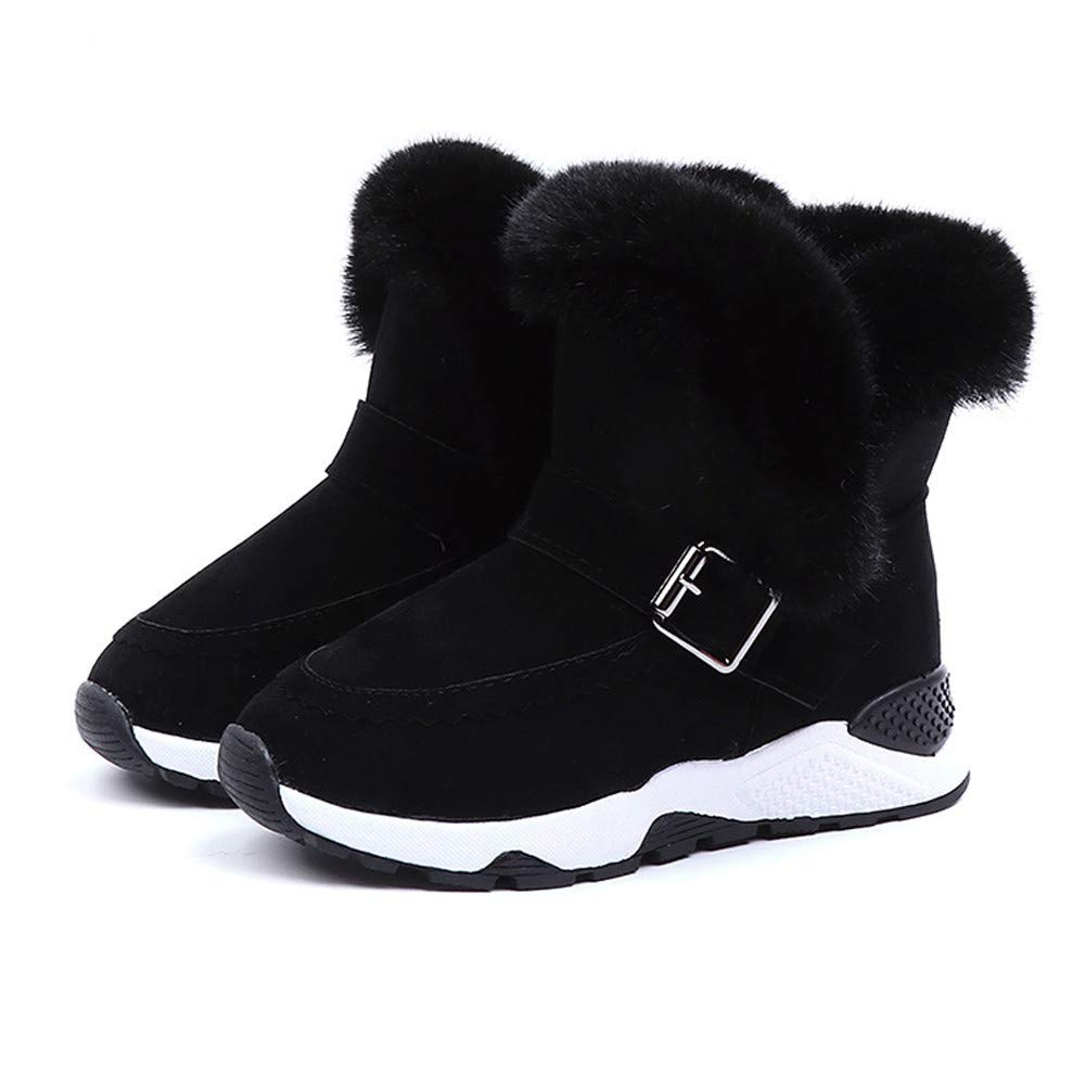 US:11.5, Black Child Baby Baby Boy Girl Fur Fleece Winter Boots Warm Snowshoe Boots jufengliangyou Fashion Snow Boots