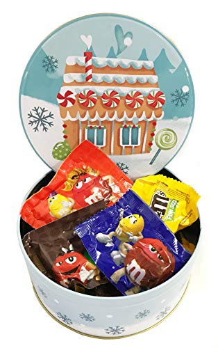 Favorite Chocolate Gift Box Christmas - Assorted Chocolates M&Ms, 17.6 oz. Tin - Christmas Candy Kids - Candy Bouquets (17.6 oz Mixed M&Ms - Gingerbread House) (Santa Christmas Tin)