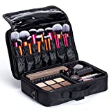 Koru Travel Makeup Case- New and Improved Size- Stylish Cosmetic Case with Adjustable Dividers for Makeup Pallets Brushes Artists Digital Accessories Perfect for All your Favor
