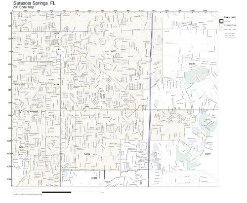 ZIP Code Wall Map of Sarasota Springs, FL ZIP Code Map Laminated