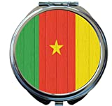 Rikki Knight Cameroon Flag on Distressed Wood Design Round Compact Mirror