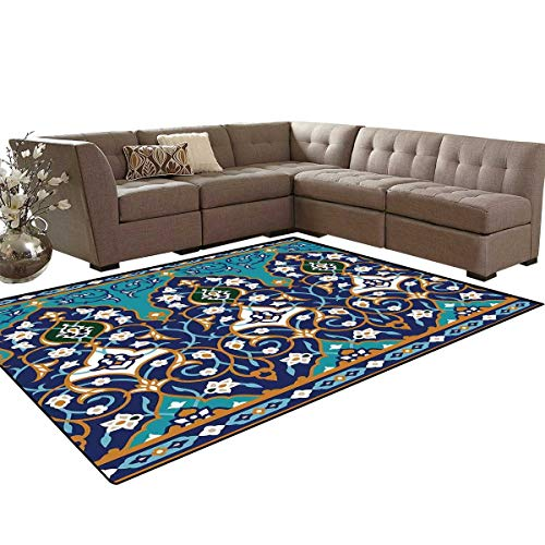 Moroccan Door Mats Area Rug Ottoman Folkloric Art Inspired Abstract Aged Middle Age Renaissance Artful Print Anti-Skid Area Rugs 6'x9' Navy Blue