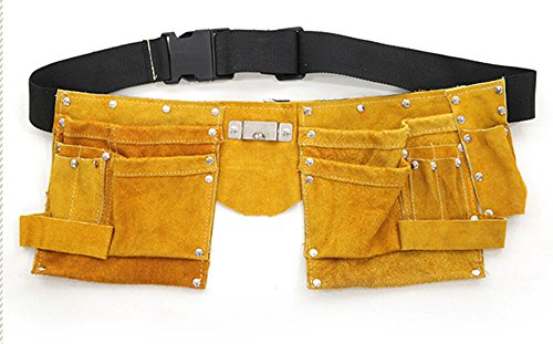 10 Pocket Oxhide Leather Tool Belt Tool Apron Carpenter's Apron Tool Belt Tool Pouch by Unknown