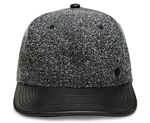 Gent's Group Men's Victor Marled Baseball Hat with Black Leather Brim, Charcoal Gray (Victor Mall)