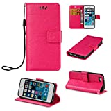iPhone 5S Case, iPhone 5 Case,iPhone SE Case, KMETY(TM) [Anti-Scratches] [Drop Protection] Premium Protective Case PU Wallet Leather Case Cover for iPhone SE/5/5S,Rose Elephants