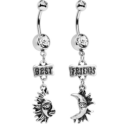Body Candy Stainless Steel Clear Accent Best Friends Moon and Sun Dangle Belly Ring Set (Sun And Moon Best Friend Rings)