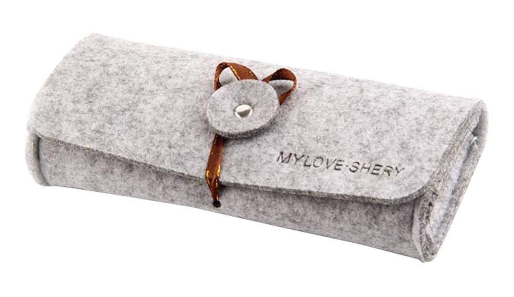Portable Felt Eyeglasses Case Travel Storage Bag - Gray