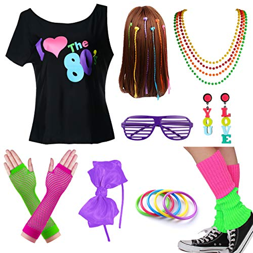 Kids I Love The 80s Tshirt Girl Halloween Costume Accessories Fancy Outfits (7-8, Purple2)