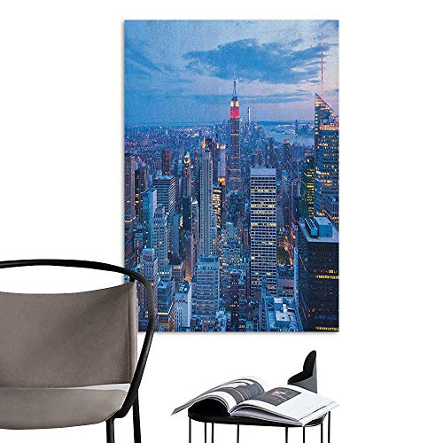 Self Adhesive Wallpaper for Home Bedroom Decor New York Aerial Night View of NYC with Dusk Sky Cloudy Sunset in City Fashion Capital Art Photo Blue Mural Blackboard DIY White W16 x H20