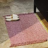 GHGMM Japanese-Style Woven Carpet, Household Bathroom Bay Window Balcony Carpet, Water Absorption Non-Slip Foot Pad, Cotton,Red,4570Cm