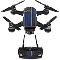 Skin for DJI Spark Mini Drone Combo - Thin White Line| MightySkins Protective, Durable, and Unique Vinyl Decal wrap cover | Easy To Apply, Remove, and Change Styles | Made in the USA