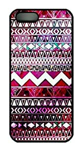 iPhone 5 5S Case, iCustomonline Aztec Pattern Protective Back Cover Case for iPhone 5 5S Black