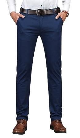 cec5dd7e24c Plaid Plain Men s Business Casual Pants Men s Slim Fit Flat Front Pants  8801Navy 28X30