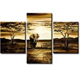 100% Hand-painted Best-selling Quality Goods Free Shipping Wood Framed on the Back Tree African Elephant Grassland High Q. Wall Decor Landscape Oil Painting on Canvas 3pcs/set Mixorde