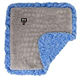 BESSIE AND BARNIE Serenity Grey/Blue Sky (Ruffles) Luxury Ultra Plush Faux Fur Pet, Dog, Cat, Puppy Super Soft Reversible Blanket (Multiple Sizes)