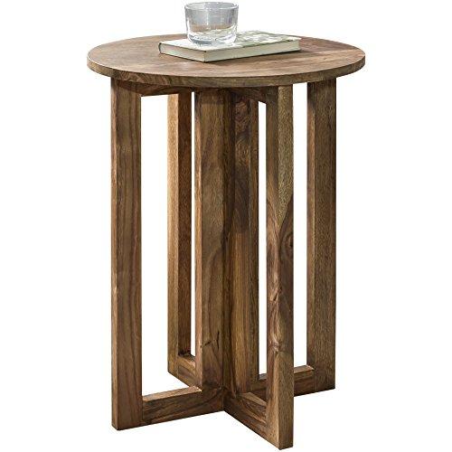 Wohnling Beistelltisch Massivholz Sheesham Design Anstell-Tisch 45 x 45 cm rund Nachttisch Deko Echt-Holz Landhaus-Stil Mesa Auxiliar, Madera, 45 x 45 x 60 cm