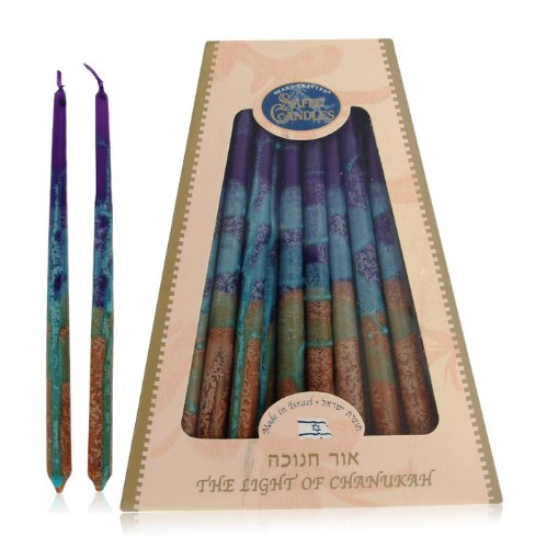 Menorah Candles from Paraffin with Bold Color Design from Safed Candles