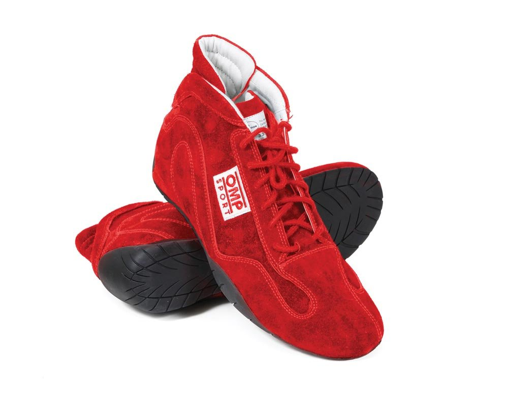 OMP Sport 50 SFI Driving Shoes - size 9.5 - Red