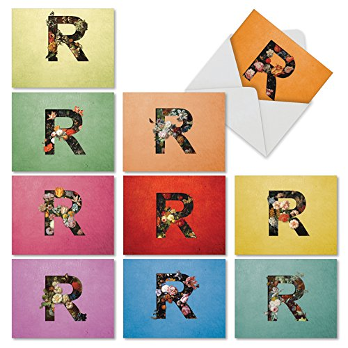 Baroque Blooms 'R' - Blank All Occasion Greeting Cards (4 x 5.12 Inch) - Boxed Set of 10 Floral Letter R Cards, Assorted Flowers Bouquets - Retro Colorful Alphabet Note Cards M3846OCB-B1x10