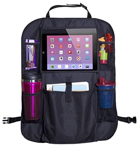 Organizador para asiento trasero de automóvil - 6 compartimientos, ideal para accesorios de viaje, tablets, bebidas y...