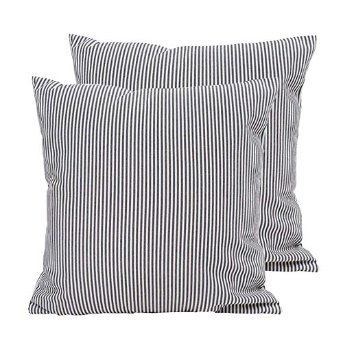 Hoplee Ticking Stripe Pillow Cover Black Stripe Decorative Pillow Covers Set of 2 (Ticking Pillows Stripe)