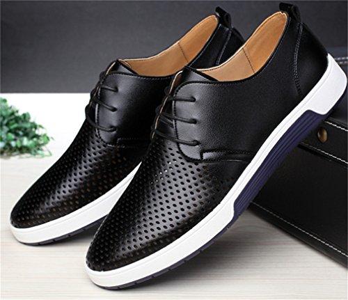uomo per uomo basse da scarpe Scarpe pelle estivi casual Black con traspiranti Shoes in fori p7PqBxf
