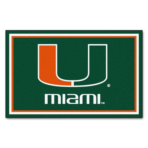 FANMATS NCAA University of Miami Hurricanes Nylon Face 4X6 Plush Rug by Fanmats