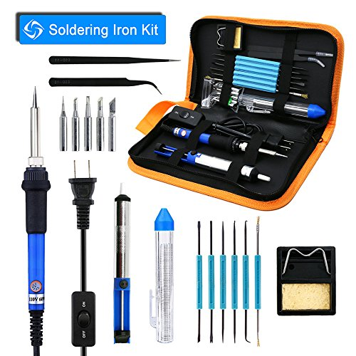 YOUSHARES 8in1 Adjustable Temperature Soldering Iron Kit with PU Carrying Case, Soldering Gun Pen 60W 110V ON-OFF Switch, 5 Various Tips, 6 Assist Tools, Solder Sucker, Solder Wire, Tweezer and Stand