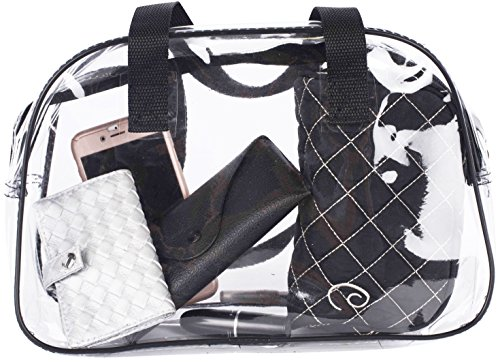 - Small Clear Handbag Purse/ Great for Work, Events, Makeup, Cosmetics / NFL Stadium Approved/ Sturdy Transparent Pocketbook Carry Bag