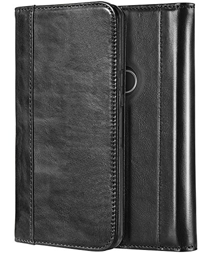Black Folding Case (ProCase Google Pixel 2 XL Genuine Leather Case, Vintage Leather Folding Flip Case with Kickstand and Magnetic Closure Protective Cover for Google Pixel 2 XL 2017 -Black)