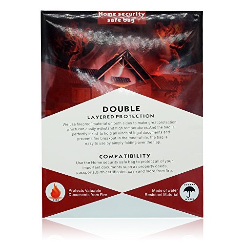 Fireproof Bag, Kuorle Anti-fire Two Sided Aluminum Foil Coated Fire Resistant Waterproof Home Security Safe Bag for Important Documents, Cash, Passport, Bank File, Valuables, Birth Certificate.