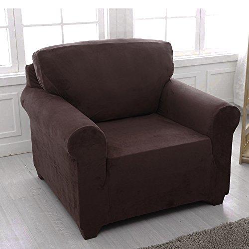 Sofa Bezug Schonbezug Stretch Elastischer Stoff Sofa Displayschutzfolie Slip Cover, schokoladenbraun, 1 seater:91-140cm