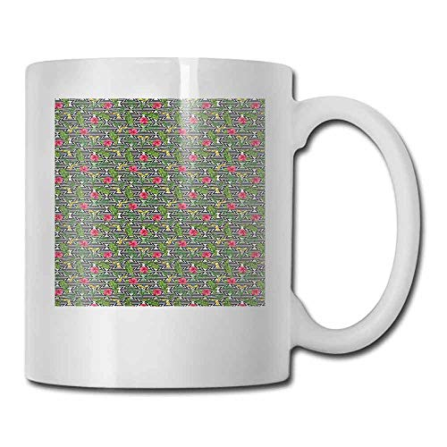 Banana Leaf Porcelain - Banana Leaf Porcelain Mugs for Coffee Black and White Geometrical Backdrop with Hibiscus and Birds of Paradise Flower Double-Sided Multicolor 11oz