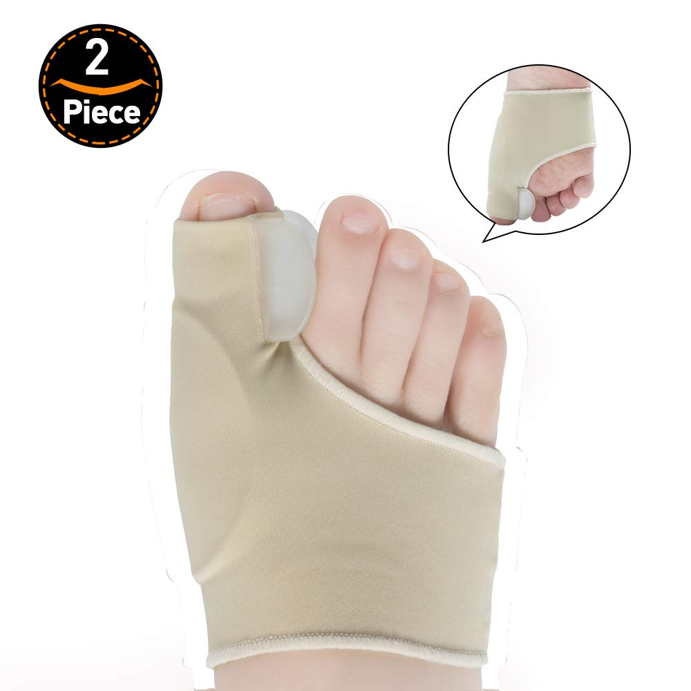 Welnove Gel Bunion Corrector Spaces Toe Sleeves Spreader 2 Pairs Fabric Protector Toe Straightener Separators Stretchy Pads to Relief Bunion Pain, Alignment Big Toe for Women and Men