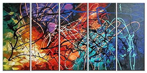 Colorful Canvas (Wieco Art Colorful Abstract Heart Oil Paintings on Canvas Wall Art Ready to Hang for Living Room Bedroom Home Office Decorations Modern 5 Panel 100% Hand Painted Stretched and Framed Artwork)