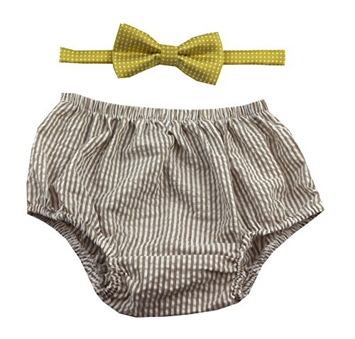 Tan Stripe Bow - First Birthday Boy Outfit includes Bloomer and Bow Tie by Gentlemen Ties (Tan White Stripe Bloomer and Gold White Polka Dot Bow)