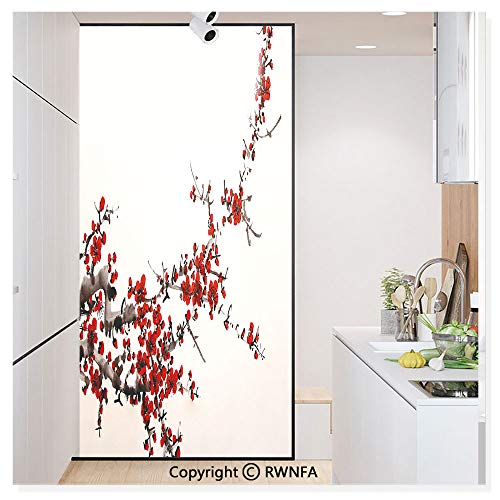 Window Door Sticker Glass Film,Elegance Cherry Blossom Sakura Tree Branches Ink Paint Stylized Japanese Pattern Anti UV Heat Control Privacy Kitchen Curtains for Glass,30 x 59.8 inch,Red Cream Brown
