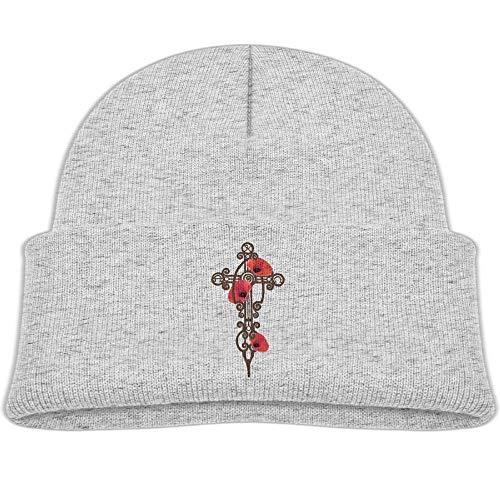 Beanie Cap Knit Hat Iron Cross Poppies Soft Wool Baby Winter Unisex