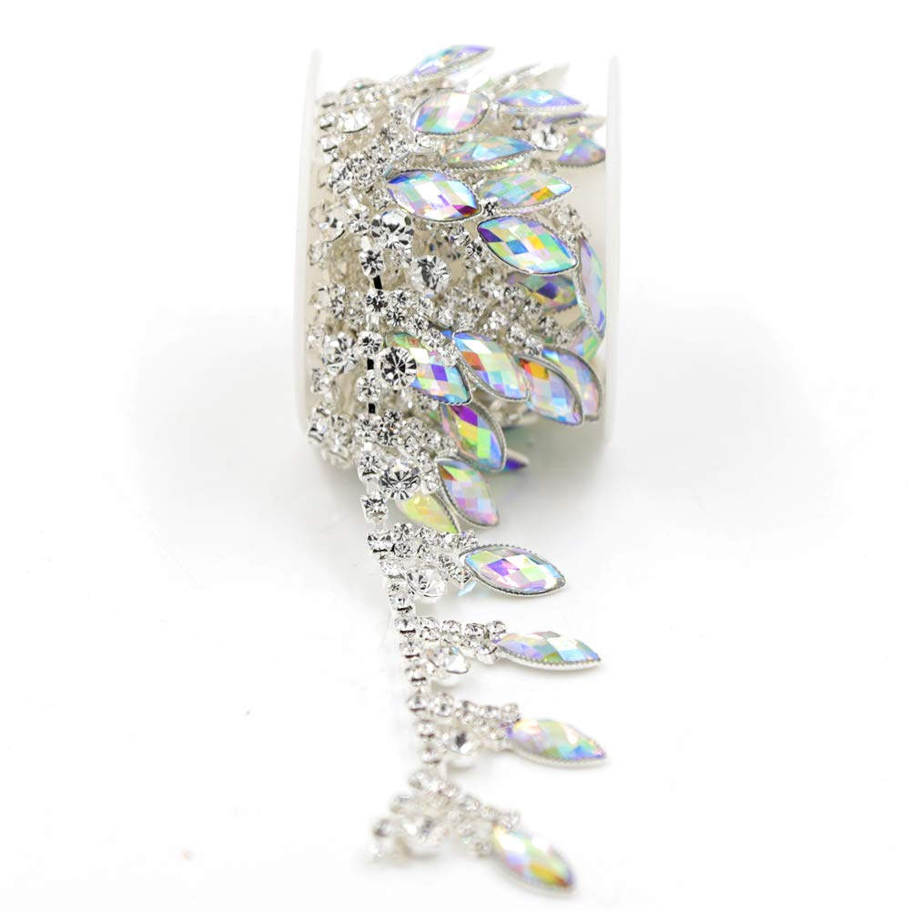 De.De. 1 Yard AB Resin Crystal Applique Rhinestone Bridal Trim Fashion Chain Fringe Embellishment Silver 4337032040