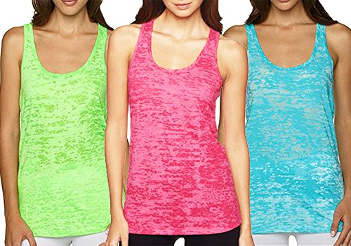Yoga Products : Yoga Tank Top - Burnout Racerback Pack of 3
